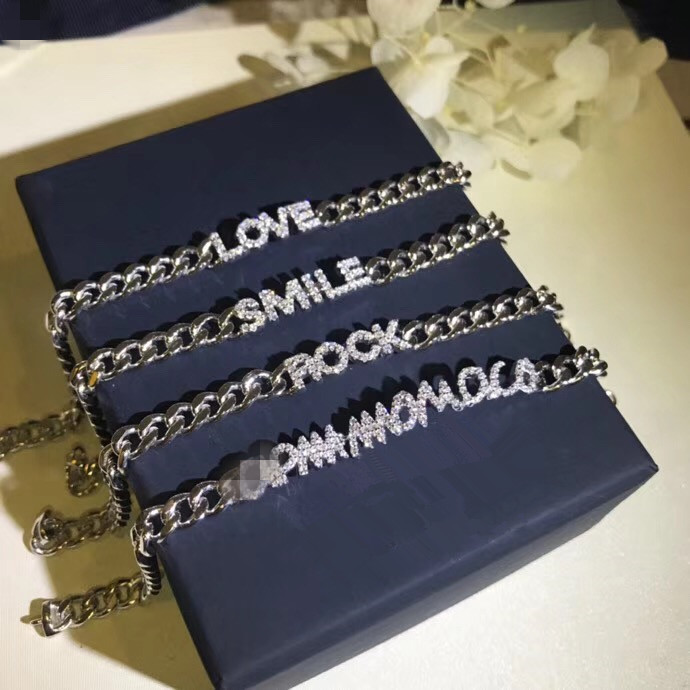 Luxury design 925 sterling silver jewelry cubic zirconia Alphabet letter LOVE ROCK A*M MONACO SMILE bracelet chain link bangle necklace love imitation silver chain letter personality clavicle 925 sterling silver paved rainbow cubic zirconia love necklaces