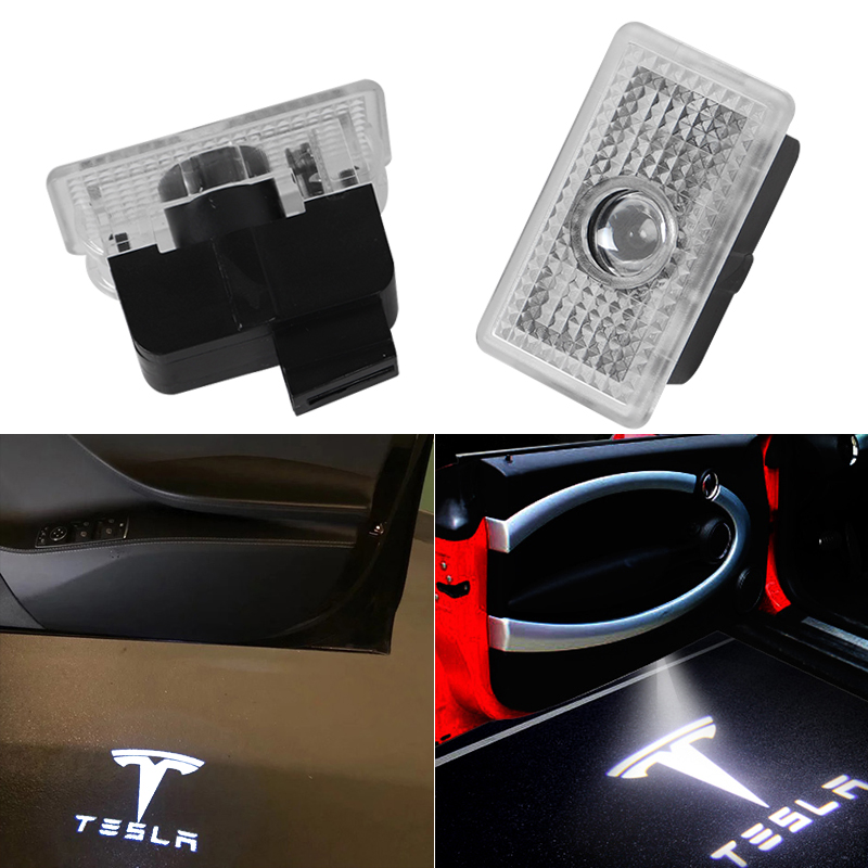 2x For Tesla MODEL 3 S X LED Car Door Logo Light Ghost Shadow Projector Welcome Light