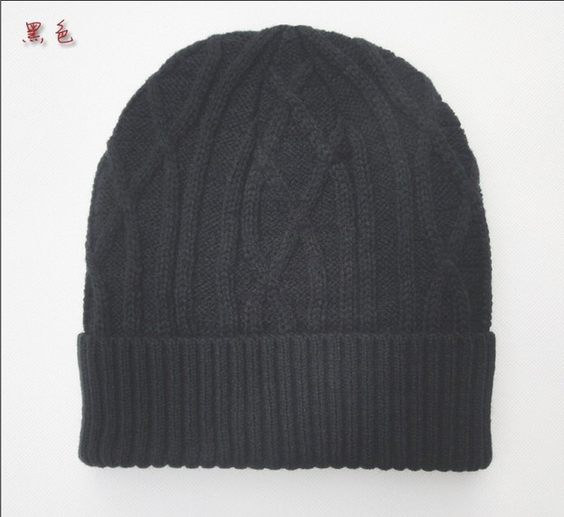 Free shipping 1 pcs 2014 new men and women add villi  Autumn and winter knitted caps flanging warm hat, multi-color