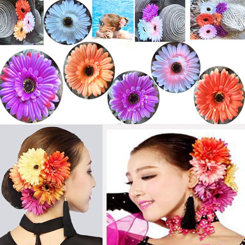 Frankees Artificial Flowers Duck Clip Headband Hair Accessories Sunflower Hair Bundle Barrettes Girl Gift Duck