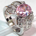 Pink Cubic Zirconia with little white Cubic Zirconia Silver Plated Promotion Favourite Hot Vintage RING R336 SZ#6 7 8 9