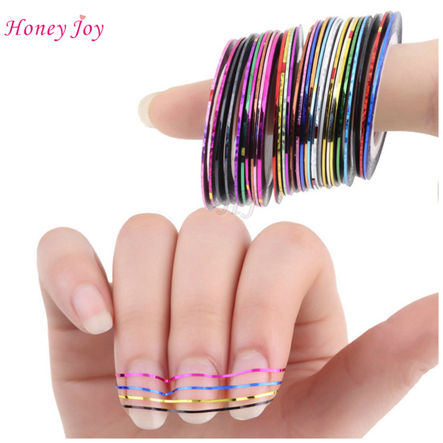 30Roll/lot Mix Color Metallic Nail Art Tape Lace Line Strips ...