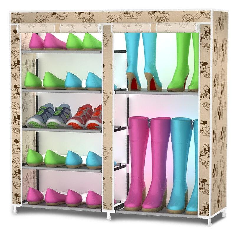 Шкаф для обуви двойной ряд многослойного ткань Оксфорд обувной стойки