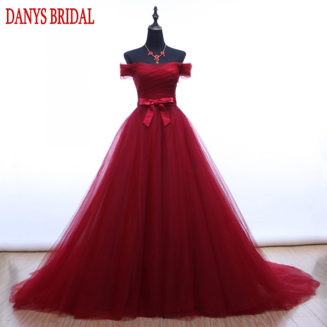164980e11 Red Long Prom Dresses for Girls A Line Off Shoulder Tulle Evening Dress  Party for Graduation