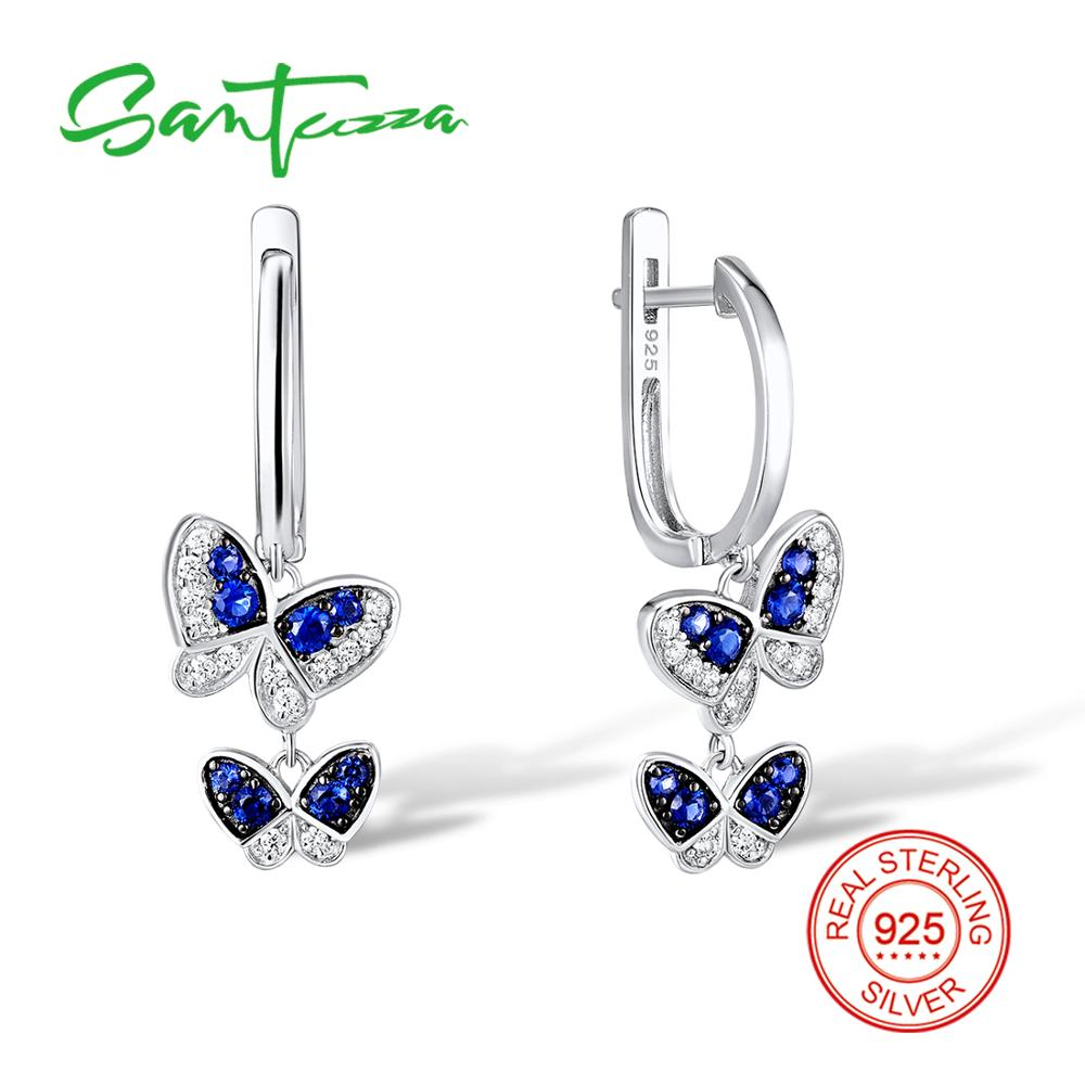 SANTUZZA Silver Earrings For Women 925 Sterling Silver Dangle Earrings Long Silver 925 Cubic Zirconia brincos Fashion Jewelry   SANTUZZA Silver Earrings For Women 925 Sterling Silver Dangle Earrings Long Silver 925 Cubic Zirconia brincos Fashion Jewelry
