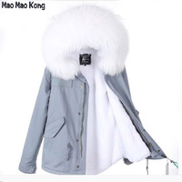 2018 New Lady Parkas Female Jacket Real Large Raccoon Fur Winter Coat Women Jacket Coats Collar Thicken Warm Padded Cotton