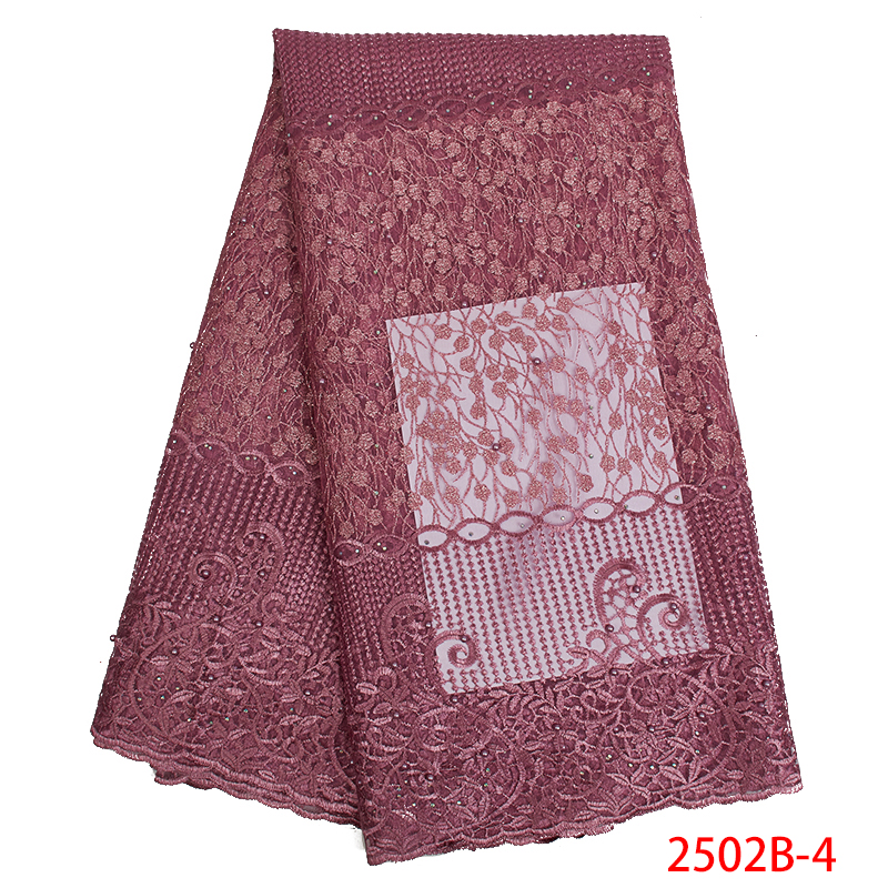 African Lace Fabric 2019 French High Quality Tulle Mesh Lace Fabric Embroidered Nigerian Laces Fabrics  For Women KS2502B-4