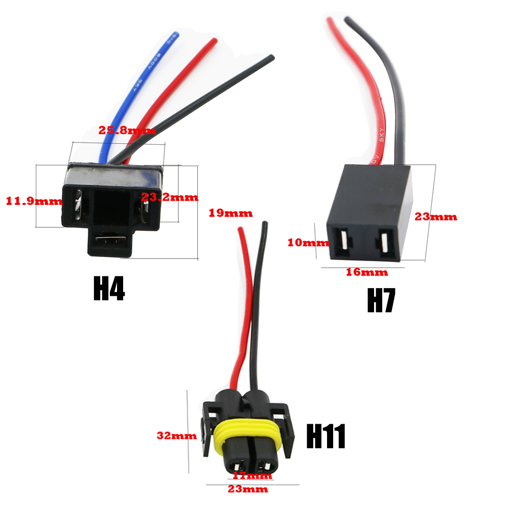 small resolution of ysy 100pcs h4 h7 h11 ceramics female adapter wiring harness socket car wire connector cable plug for hid led bulb in base from automobiles motorcycles on