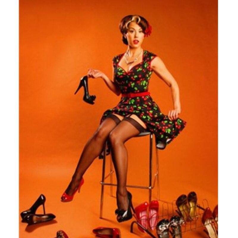40- Summer Women Vintage 50s Heidi Black Cherry Sweetheart Neck Swing Dress Rockabilly Pinup Vestidos Plus Size Dresses Jurken