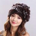 100% Real Rex rabbit fur Hat para Mulheres Inverno Malha Cap gorros com Pom Poms 2016 Nova Fêmea Grossa Russa Cap
