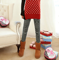 Winter Leggings Plus Thick Velvet Cotton Striped Kitten Embroidery Section Knee Patch Legging Slim Women Casual Leggins