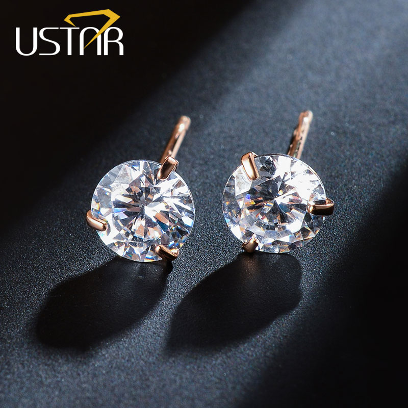 USTAR 5mm AAA Zircon Stud Earrings for Women Rose Gold color Fashion Jewelry Crystal Earrings female Wedding Party Gift brincos