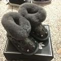CCTWINS NIÑOS rhinestone invierno botas de piel de cuero genuino de los niños zapatos de los bebés de la manera del perno prisionero niñas botas de marca botas negras