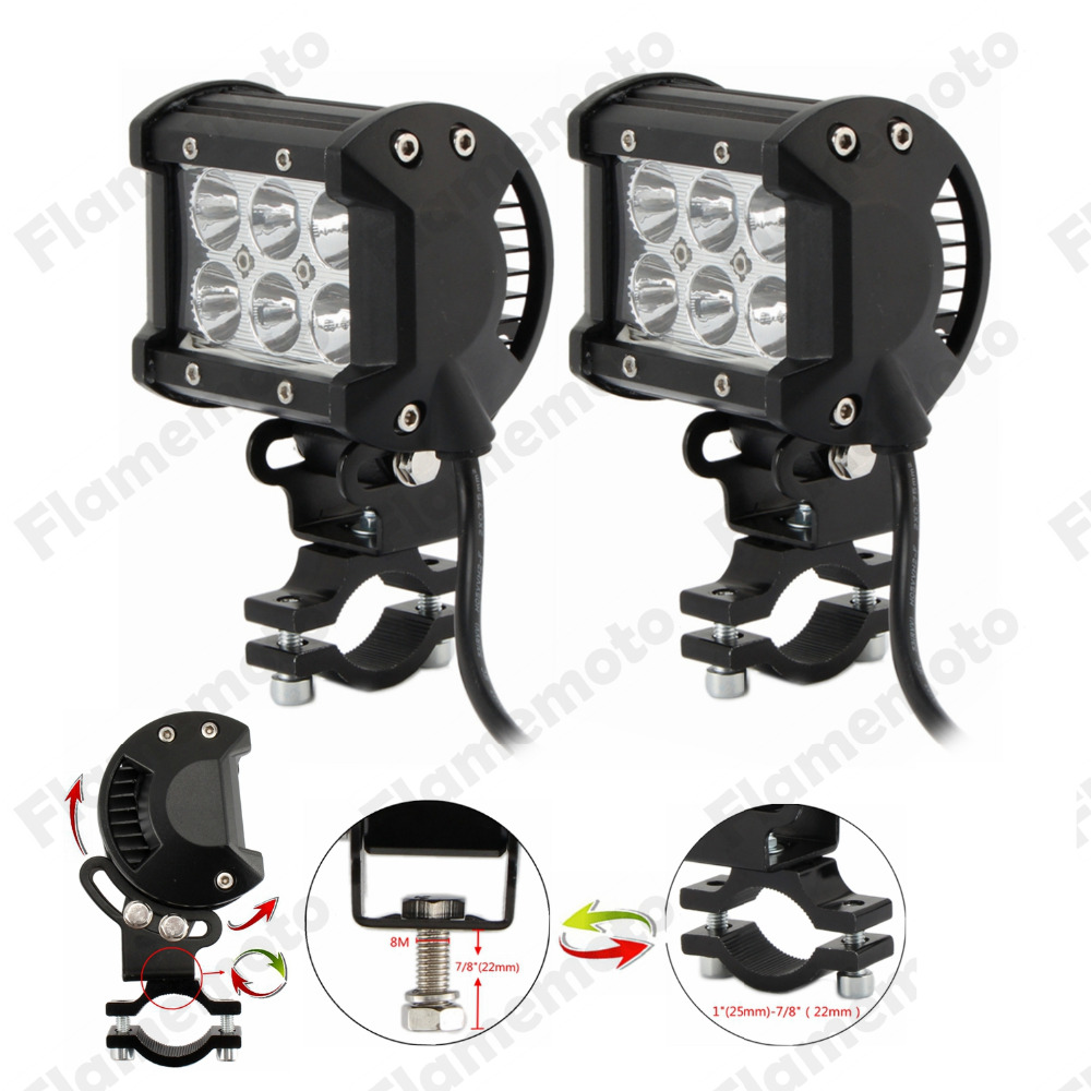 2pcs Offroad LED Spot Light 18W Adjustable Motorcycle Spotlight Driving Spotlight Lamp For BMW Ducati Triumph ATV Dirt Bike|light for - title=