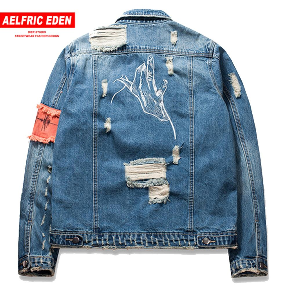 Aelfric Eden Front Zipper Destroyed Jeans Flight Jacket Men Ripped Denim Jean Jackets Hip Hop Overcoats Casual Streetwear Ae028
