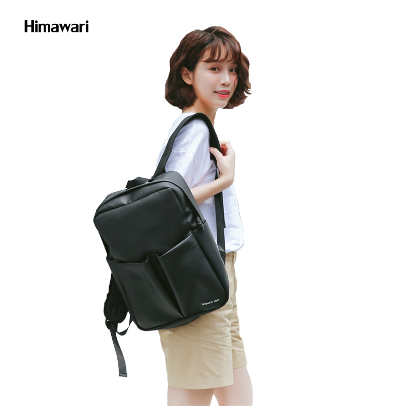 8b042cd1800e Best buy Himawari Brand Men Black High quality PU leather bags Casual  Laptop Bags Travel Shoulder backpack for Teenager girls mochila online cheap