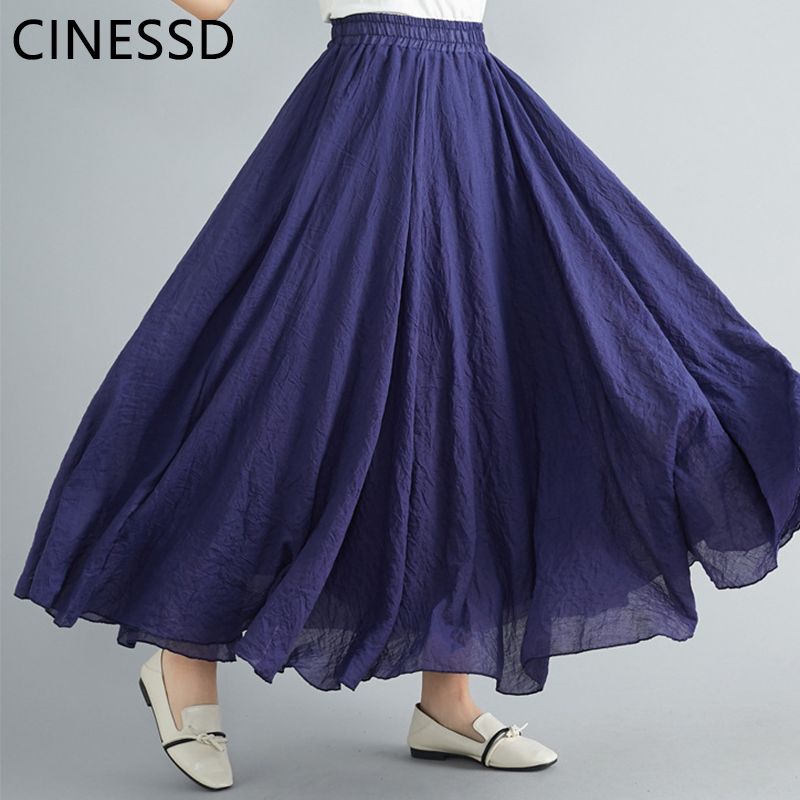 CINESSD Women Solid Swing Long Skirt A-Line High Waist Elastic Loose Flowy Office Lady Pleated Vintage Casual Party Maxi Skirts