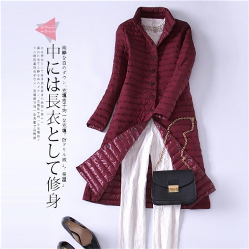 2018 Autumn Elegant Women Long White Duck   Down   Jacket Big Size Light Thin   Down   Jacket Lady   Down     Coats   Winter Jackets Outwear 588