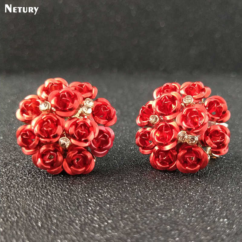 New Women fashion flowes rose earrings Romantic plant cute pink girl stud earrings colorful casual noble career lady Art jewelry