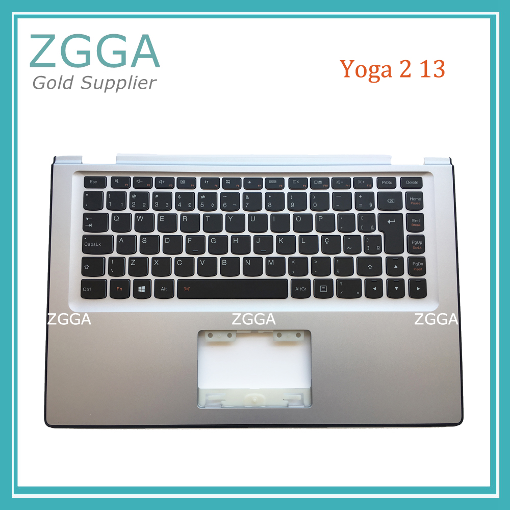 New For Lenovo Yoga 2 13 Palmrest Keyboard Bezel Cover Upper Case with Backlit Silver Big Enter 90205152 AP138000700 genuine new for lenovo thinkpad x1 helix 2nd 20cg 20ch ultrabook pro keyboard us layout backlit palmrest cover big enter