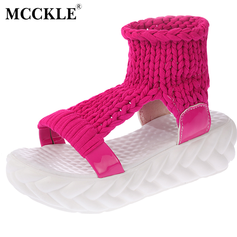 MCCKLE Woman Fashion Casual Sandals 2017 Summer Ladies Platform Shoes Slip-On Women Style Flat Comfortable Hot Sale New mcckle 2017 fashion woman shoes flat women platform round toe lace up ladies office black casual comfortable spring
