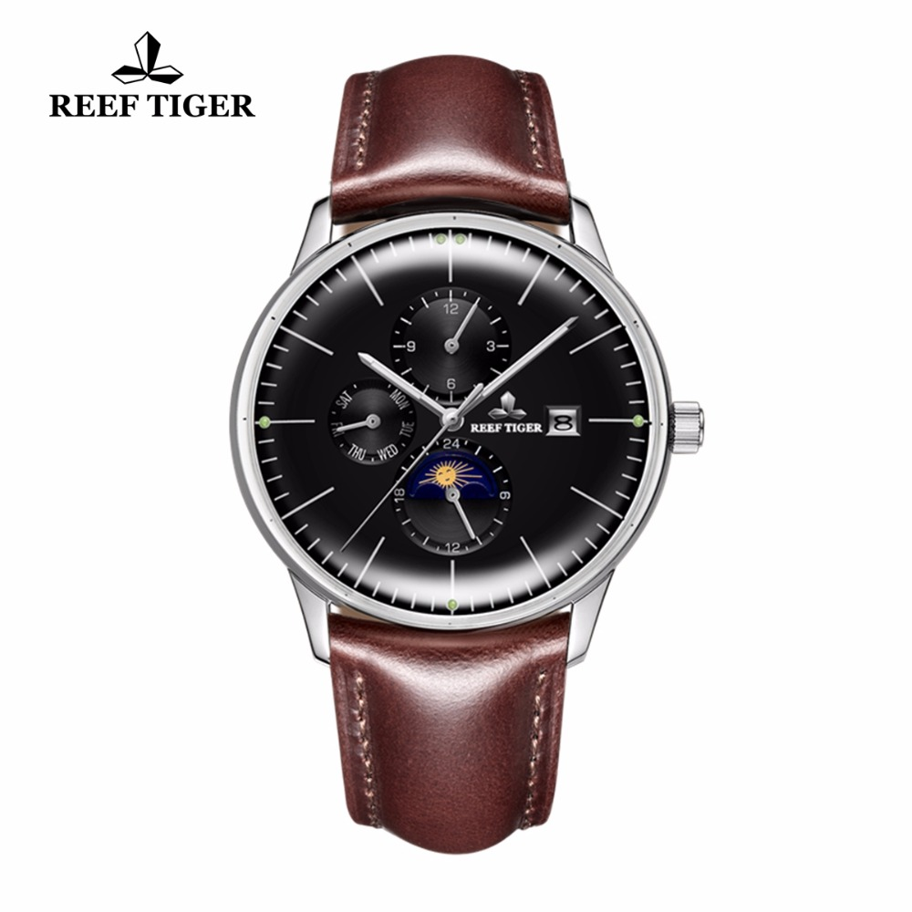 Reef Tiger/RT Mens Fashion Watches Genuine Leather Strap Steel Casual Watches Luminous Automatic Watches Date Day RGA1653 вьетнамки reef day prints palm real teal