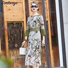 Simloveyo 2019 Luxuxy Sleeves Floral Bohemian Long Dress Women Dresses Lady Dresses Elegant Party Porm Dress Vestido M031