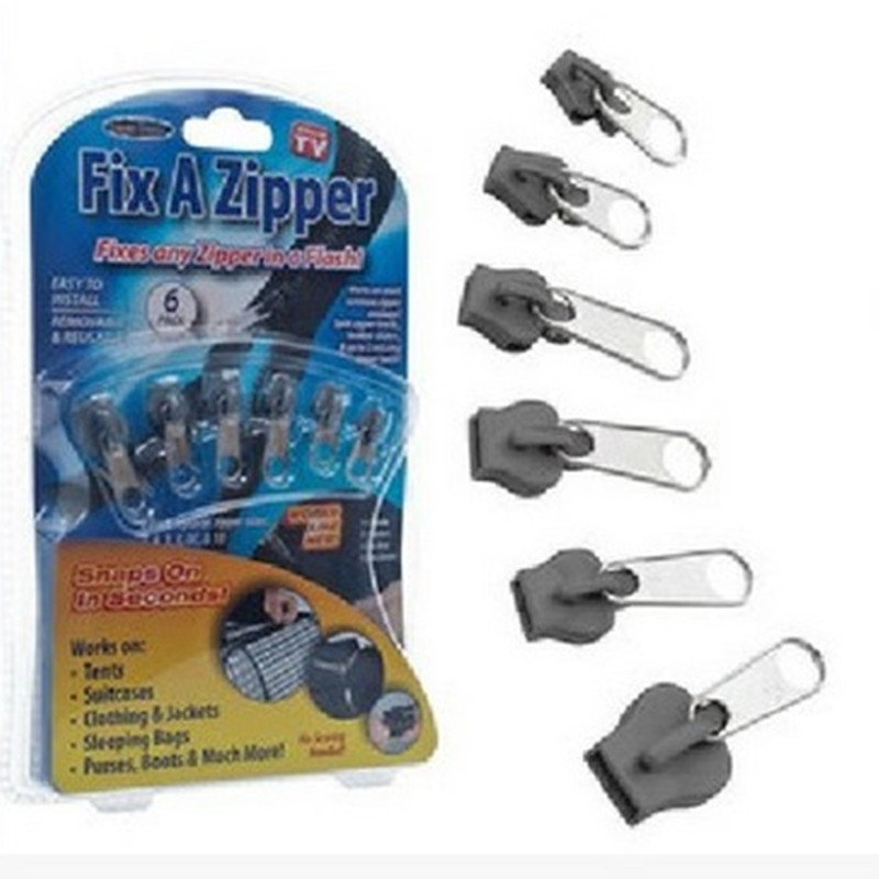 6 PCS/Bag Universal Instant Fix Zipper Repair Kit Replacement Zip Slider Teeth Rescue New Design Zippers For Sewing Clothes(China)