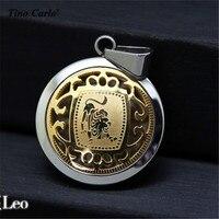 סמל גלגל המזלות ליאו אסטרולוגיה סימן מטבע תליון נירוסטה זהב וכסף קסם עם 24
