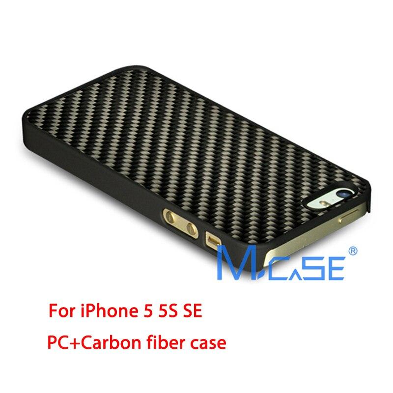 imágenes para Anti Deslizante Completo Lados Protector PC + Real de Fibra de Carbono Cubierta de la Caja Del Teléfono Cubierta de la Caja Para el iphone 5S SÍ