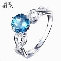 HELON 7mm Round Swiss Blue Topaz Real Diamonds Ring Solid 10K White Gold Engagement Wedding Gemstone