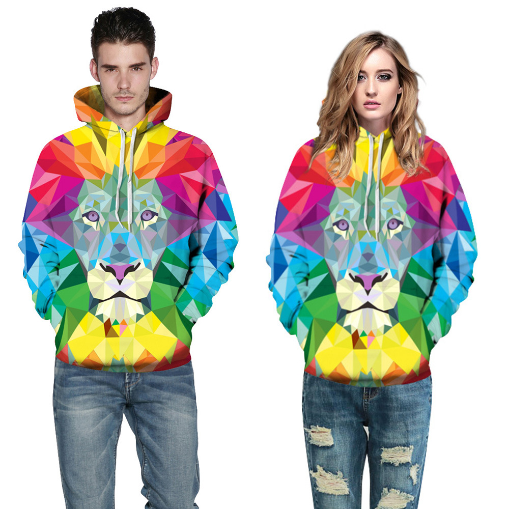 Winter Autumn 3D Printed Lion Hoodies Men/Women Sweatshirt Hooded Homme Muscle Fashion Colored Squares Funny Hoodies Sweatshirt