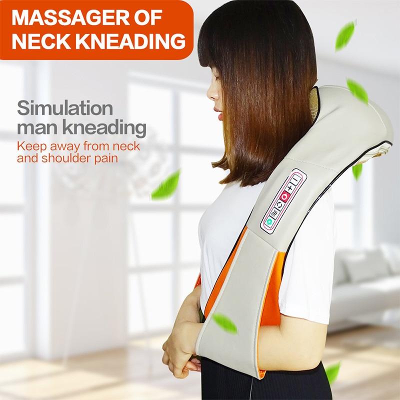 U צורת חשמל שיאצו חזרה צוואר כתף גוף לישה עיסוי מרגיע מוצרי אינפרא אדום Massagem עם אריזת מתנה