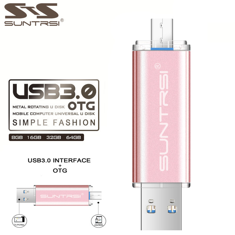 Suntrsi OTG Pen drive 32 gb Ad Alta Velocità In Metallo Chiavetta USB 64 gb 16 gb Pendrive USB 3.0 Flash Drive logo personalizzato USB Flash Drive