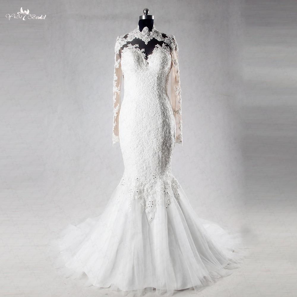 Us 288 0 Aliexpress Com Buy Rsw1011 Heart Shape Sexy Backless Mermaid Long Sleeve Lace Wedding Dress From Reliable Lace Wedding Dress Suppliers On