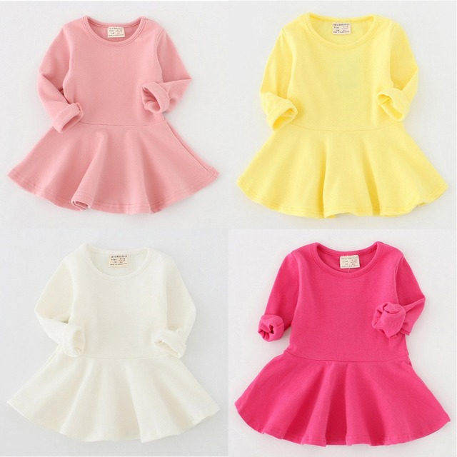 f22732d2e37be Spring Girls Solid Ruffles Dresses Casual A-Line Simple Dress Full Sleeve  Kids Clothes Baby Girls Under Dress