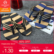 2019 New Beach Men's Slippers Men Casual Summer Stripe Flip Flops Shoes Sandals Male Slipper Flip-flops Non-slide Male Slippers(China)