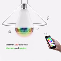 Intelligent E27 B22 5 8W RGB LED Bulb Bluetooth Lamp Colorful Speaker Lights Bulb with Remote
