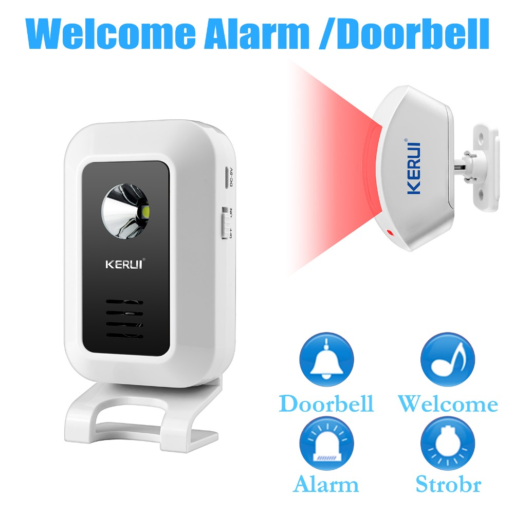 KERUI Wireless Door Bell Smart Anti-theft Burglar Alarm System 433MHz Sensor PIR Motion Detector Intruder Doorbell Home Security