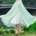 Retro Fancy Flower Print Skirt Long Women Fashion Lace Patchwork With Button Elastic Waist Water Green Full Chiffon Skirt