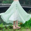 Retro de Lujo Estampado de Flores Falda Larga de Encaje en Moda Mujer Patchwork Con Cintura Elástica Botón Verde Falda de Gasa Llena de Agua