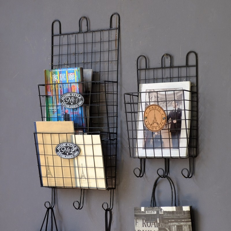 Retro Wrought Iron Magazine Shelf Wall Storage Rack Newspaper Decoration In Racks From Furniture On