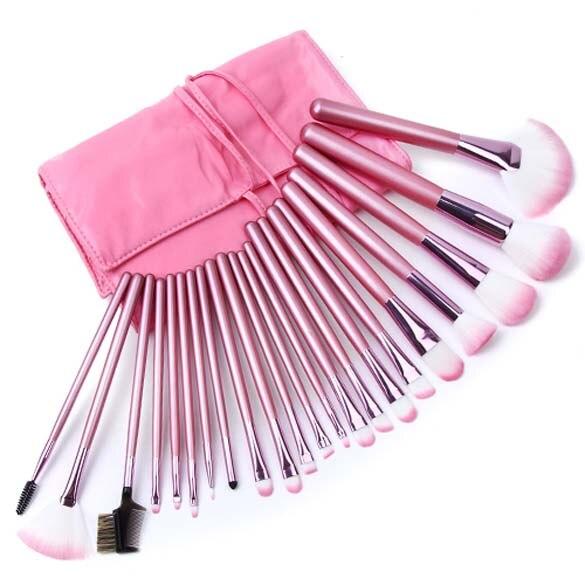 22 Pièces Comestic avec Mignon Rose Cas Accessoires de Maquillage Professionnel Brosses Outils Fondation Brosse Ensembles et Kits de Haute Qualité