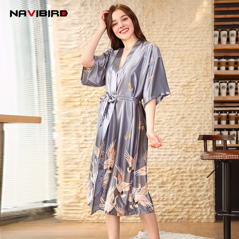 Plus Size Long Imitation Silk Bath Robe Woman Spring Crowned Crane Printed Breathable Sexy Bride Robe Satin Bathrobe Femme