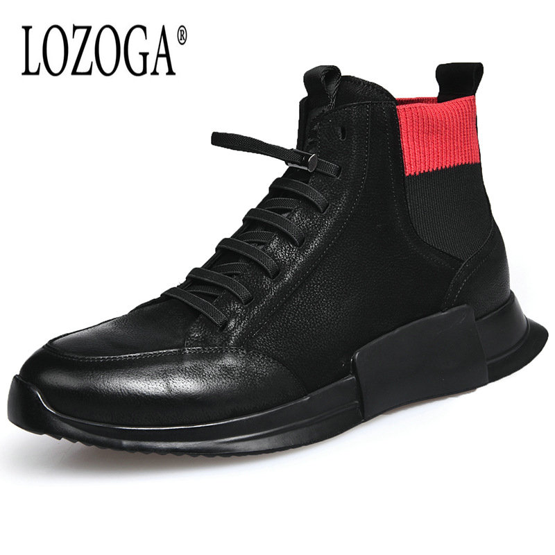 Lozoga 2018 Mens Boots Luxury Brand Designer Shoes Genuine Leather Mens High Sneaker Lace-Up Casual Boots Flat Black Handmade