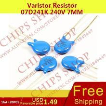 1 лот = 20 шт. Варистор резистор 07D241K 240 В 7 мм Series07D