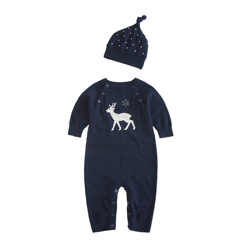 Осень-зима для маленьких девочек с персонажами из мультфильмов для мальчиков Рождественский олень шерстяной комбинезон с капюшоном для ма...