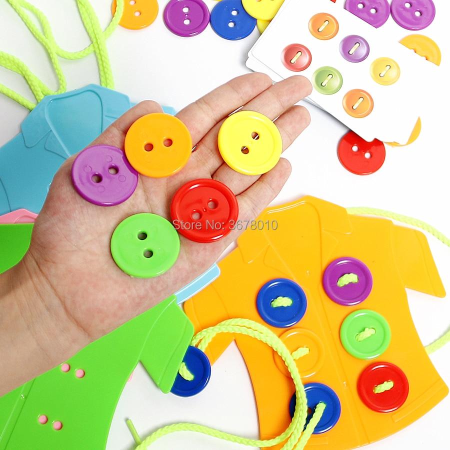 roupas botões laço brinquedo, vestindo corda rosqueando