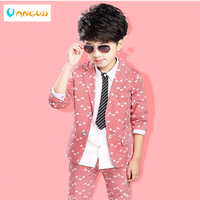 Boys blazer suits 2 piece sets for kids 4 13 years old Geometric print suits for boys 3 color striped boys clothes hot sale