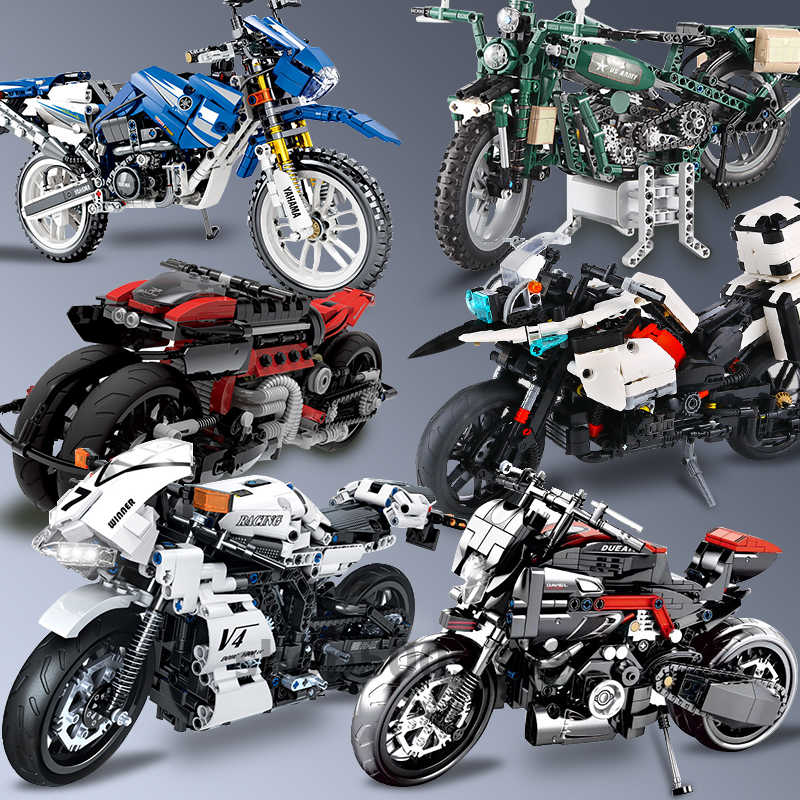 City Vehicles Compatible Technic Motorcycle Moto Motor Car Racing Speed Motorbike Building Blocks Models Bricks Toys